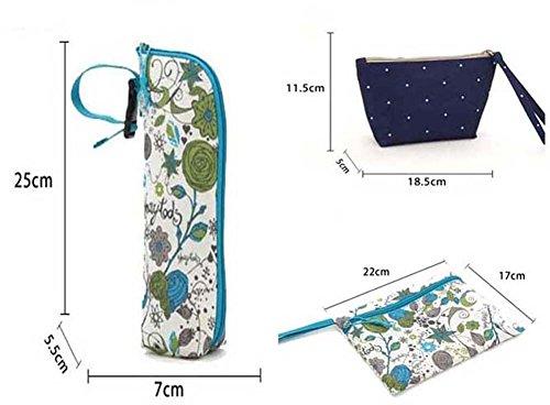 LCY 5pcs Tote Cruz Cuerpo Bolsa Para Pañales y Cambiador Juego Light Blue Flowers Khaki Dots