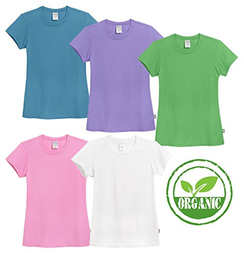 City Threads Girls' 100% ORGANIC Cotton Short Sleeve Cap Tee Tshirt