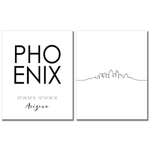 N&T Phoenix City Skyline Wall Décor Prints - Set of 2 (8x10) Art Photos - Typography Minimalist Poster