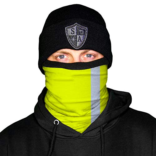 SA Frost Tech Thermal Fleece Face Shield - Winter Face Mask for Men or Women (Reflective Electric Yellow)