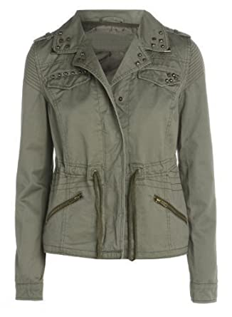 Khaki Military Womens Jacket (12): Amazon.co.uk: Clothing