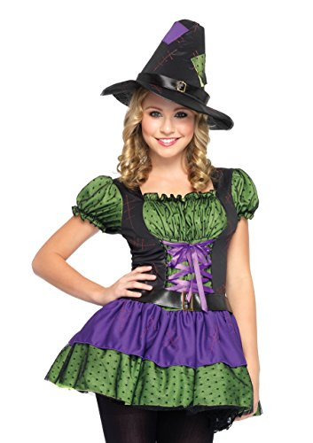 Leg Avenue Junior's 2 Piece Hocus Pocus Witch Dress, Purple/Green, Small/Medium