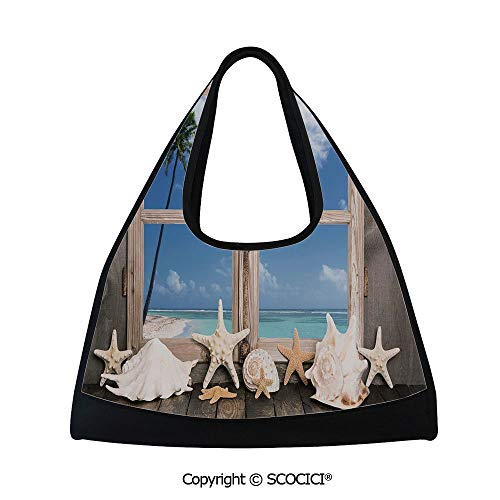 Fitness bag,Summer Holiday wih Seashells Starfish Palm Tree Ocean Print,Sports and Fitness Essentials(18.5x6.7x20 in) Light Brown Sky Blue and White ()