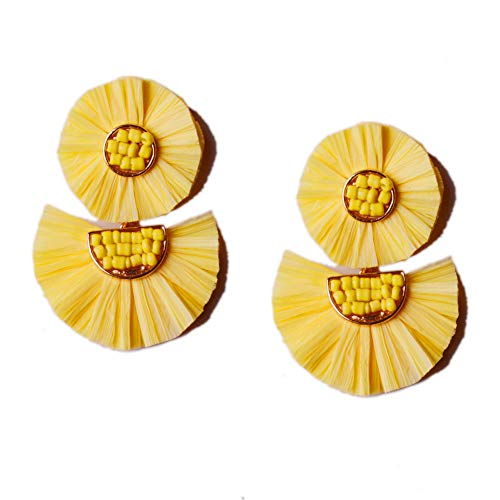 L&N Rainbery Bohemian Handmade Drop Earrings Fashion Beaded Raffia Palm Earrings for Women Tiered Dangle Statement Earrings (2 Layers Yellow)