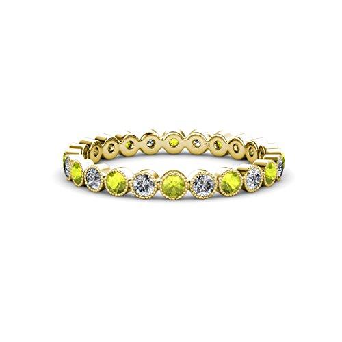 Peridot & Diamond Bezel Set With Milgrain Eternity Band 0.90 ct tw to 1.02 ct tw 14K Yellow Gold.size 6.0 Milgrain Diamond Eternity Band