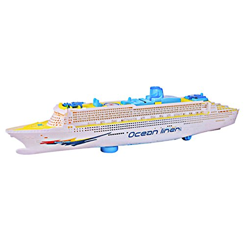 ttnight 19inch Mini Children Boat Toys Music Ship Model Flashing Sound Electric Cruises Boat Model Toys
