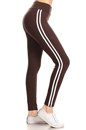 LIIR128-BROWN Double Lined Yoga Leggings, One Size