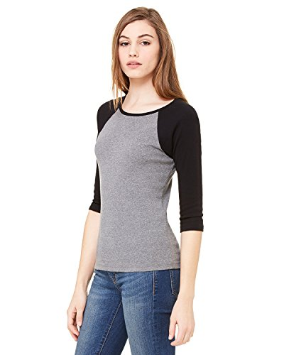 Bella + Canvas Ladies Baby Rib 3/4-Sleeve Contrast Raglan T-Shirt - DP HEATHER/ BLK - L - (Style # B2000 - Original Label)