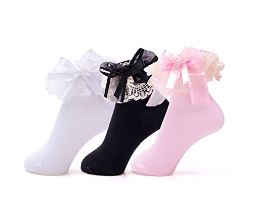 Girl's Cute Lace Ruffle Princess Style Cotton Socks(Pack of 3) (Pink Lace White Ankle Socks)
