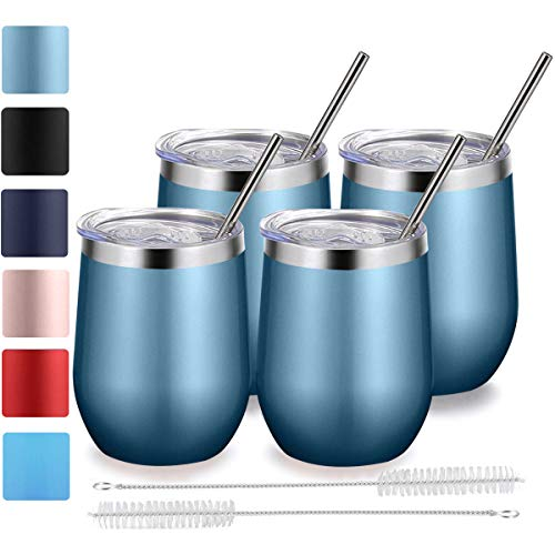 Stemless Wine Tumbler with Lid and Straw, Bastwe 4 Pack 12oz Stainless Steel Wine Glass, Double Wall Insulated Wine Tumbler for Champagne, Cocktail, Beer, Coffee, Drinks (Blue Gold)