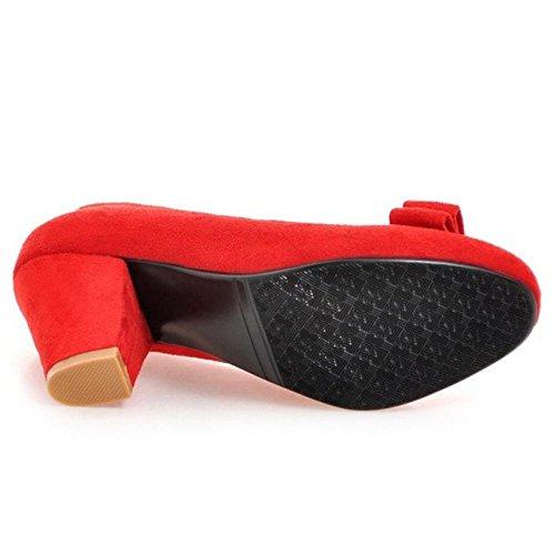 COOLCEPT Women Solid Block Heel Court Shoes Red 6h8aRFr