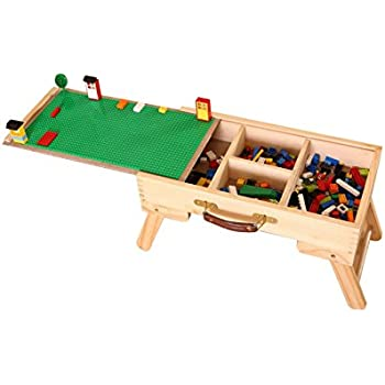 Portable Folding Kids Children Wooden Activity Table Building Block Storage Play  Table With Board