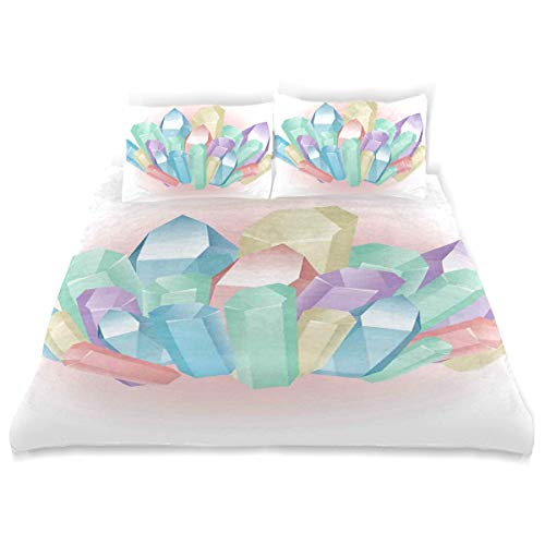 YCHY Decor Duvet Cover Set, Natural Uncut Minerals Crystals Gems and Diamonds Pattern Colorful Illustration A Decorative 3 Pcs Bedding Set with Pillowcases, Queen/Full