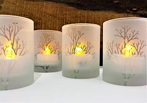 Frosted 'Tree Branch' Engraved Glass Candle Holders Set Of 4