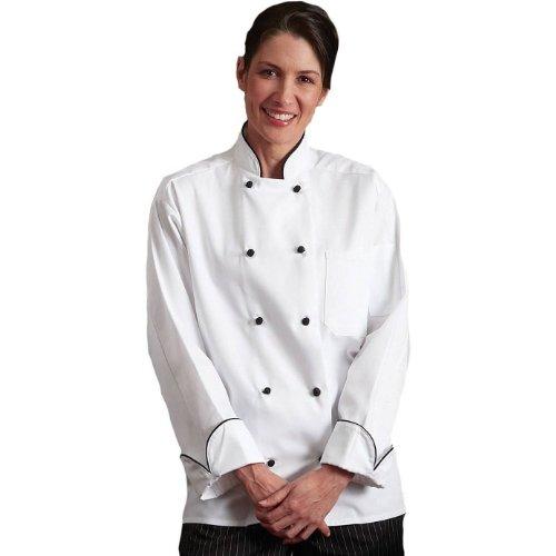 Uncommon Threads Barcelona Poly/Cotton Twill Chef Coat in White - Medium