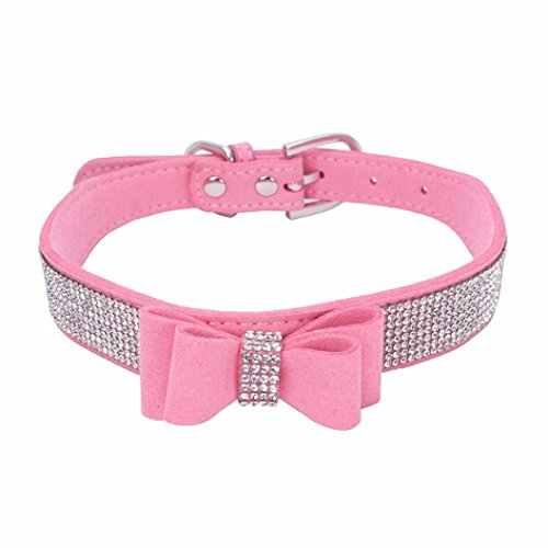 Sunward Dog Collar, Diamond Bow Tie Crystal Rhinestone Pet Collar Designer Girl Boy Dog Collars (Pink, XS) (Adorable Dog Fashion)