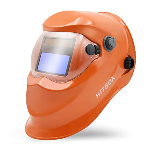 HITBOX Welding Helmet Solar Powered Auto Darkening Hood with Adjustable Shade Range for TIG MIG ARC Grinding Plasma Welder Mask (Orange)
