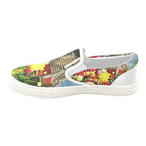 D-story Custom Sneaker Mulini A Vento E Tulipani Donne Insolite Scarpe Di Tela Slip-on