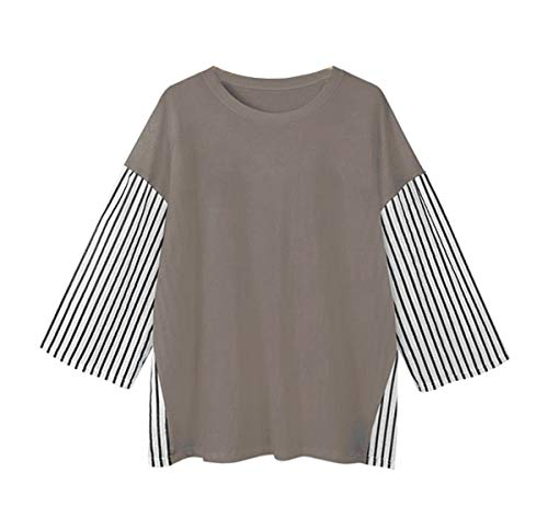 Shirts Printemps et Manches Rond Femmes Tees Mode pissure Kaki Col Longues Jeune Lache Casual Automne Raye Sweat Jumpers T Hauts Blouse Shirts Tops OOpqwrd