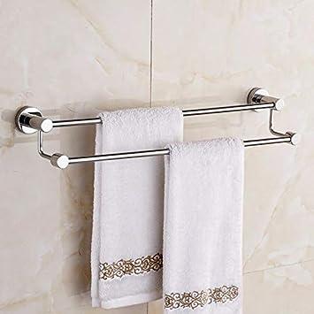 Barra de toalla de acero inoxidable 304 baño 50CM doble polo alto y bajo Toalla colgando: Amazon.es: Bricolaje y herramientas