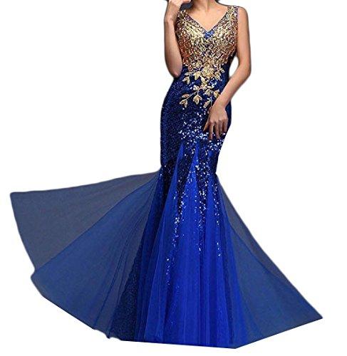 Comfy Dress Net Blue Sequin Vogue Fit Royal Slim Beads Yarn Bridesmaid Evening Women's gvwrTg