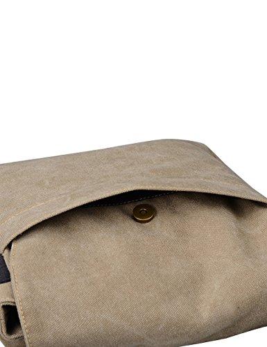 Douguyan Muchacho Moda Lona Bolsos al Hombro Mensajero Cartapacio Bolsa de Mensajero 8202 Caqui 8201 Caqui