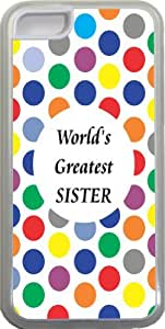 Rikki KnightTM World's Greatest Sister Colored Polka Dot Design iPhone 5c Case Cover (Clear Rubber with bumper protection) for Apple iPhone 5c