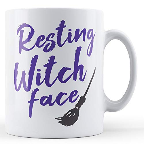 Nat999Lily Resting Witch Face Ceramic Mug Spooky Fun Halloween Gift Idea