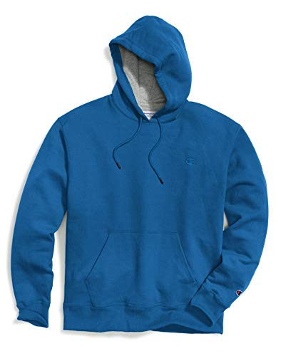 (Champion Men`s Powerblend Fleece Pullover Crew, L, Deep Hotline Blue)