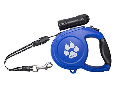SOMAN ペット用 犬用伸縮リード荷重 60㎏まで 自動巻き 長さ8M 中・大型犬用 明るい9LED 懐中電灯付き(ブルー)