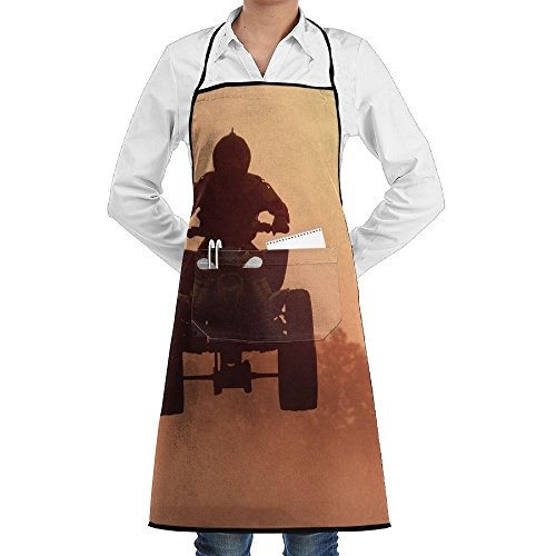 SmallTing Silhouette Atv Or Quad Bikes Jump In The Sunset Modern Design Servers Black One Size Apron With Pockets Adjustable