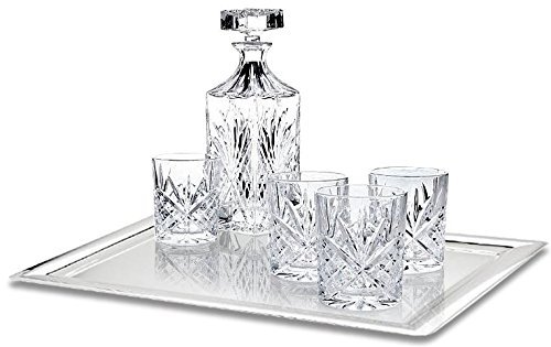 (James Scott 6 PC crystal Bar Set, for Whiskey, Wine, and Liquor. This Irish Cut whiskey Set, includes a Decanter 750ml (with Full Glass Ground Stopper),and 4 x 11oz. crystal DOF Glasses- Perfect Gift)