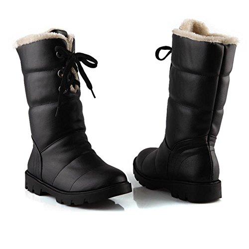COOLCEPT Women Casual Warm Lining Winter Ankle High Dress Boots Warterproof Black TvDw4zC