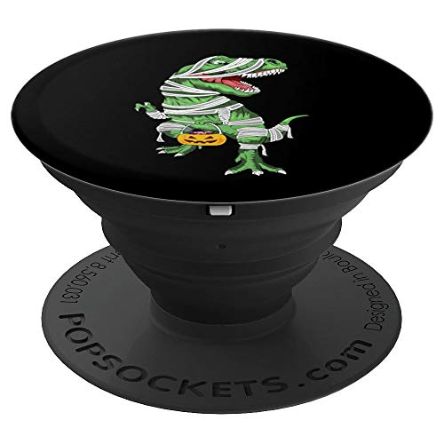 Funny T Rex Dinosaur Mummy Halloween Trick Treat Pumpkin - PopSockets Grip and Stand for Phones and Tablets]()