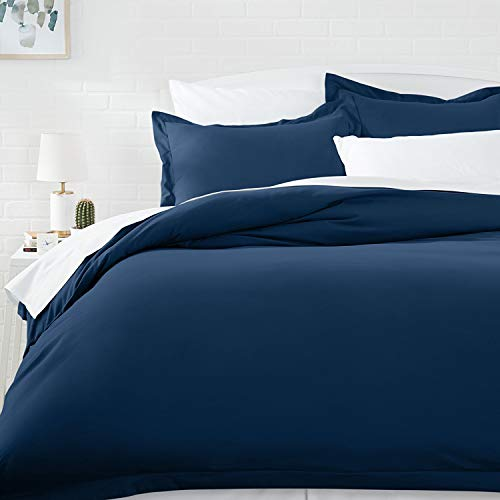 AmazonBasics Microfiber Duvet Cover Set - Twin/Twin XL, Navy