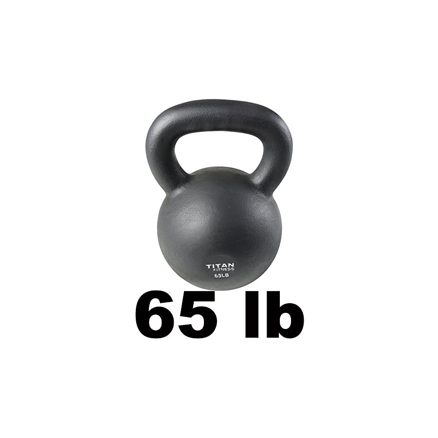 Titan Fitness Cast Iron Kettlebell Weight 65 lb Natural Solid Workout Swing