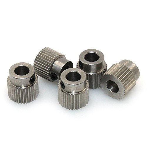 Gear Printer (ARQQ 5pcs Stainless Steel Extruder Pulley 36 Teeth Bore 5mm Extruder Drive Gear for 3D Printer 1.75mm/3.0mm PLA ABS Filament)