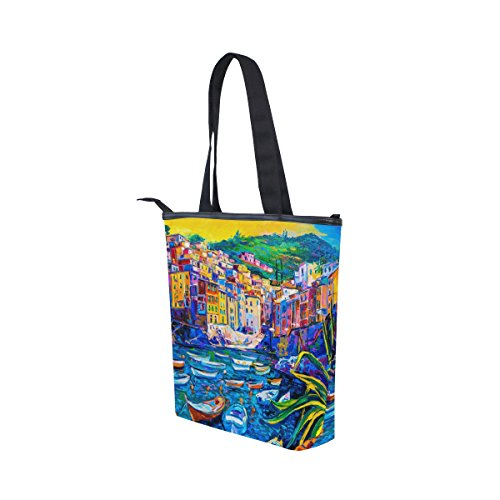 Tote Handbag Womens House Shoulder Bag Sea Italy Oil Canvas MyDaily Boat Painting 7wP6dqx7