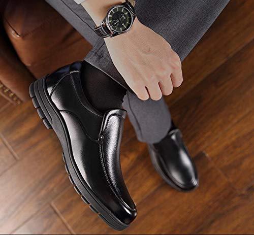 Suave de Koyi Edad Zapatos Antideslizantes con Resistentes Gruesa Black papá de al Suela para Juegos Casuales cómodos Cuero Desgaste Suela para Zapatos de Zapatos Mediana Hombres de WqYrwqT8