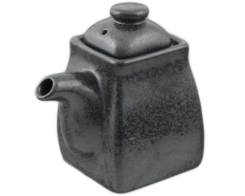 Traditional Japanese Ceramic Soy Sauce Shoyu Dispenser With Lid Capacity 8 fl. oz Made in Japan (Gray) by Hinomaru Collection