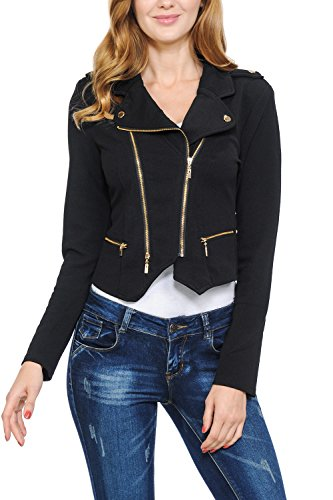Womens Modern Casual Asymmetrical Long Sleeve Zip Up Moto Jacket Black Small Black Fitted Jacket