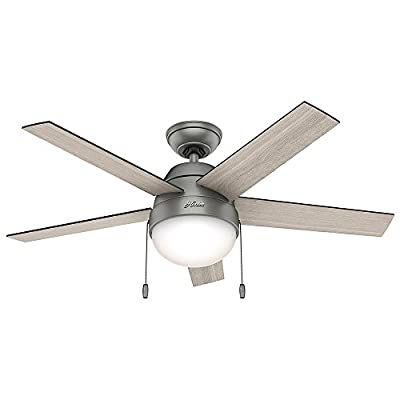 """Hunter 59267 Contemporary Anslee Matte Silver Ceiling Fan With Light, 46"""""""
