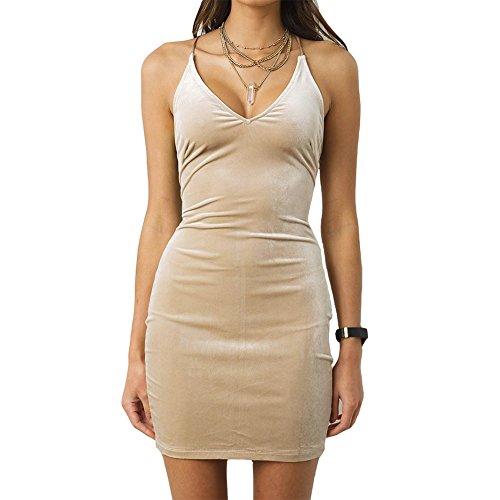 edf586cfd80c7 Antopmen Women's V Neck Spaghetti Strap Gold Velvet Dress Sleeveless ...