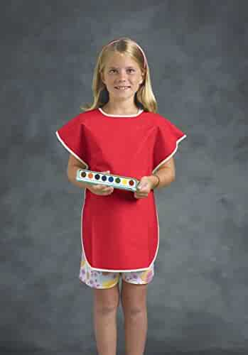School Smart Vinyl Art Smock Apron, 22 x 16 Inches, Red