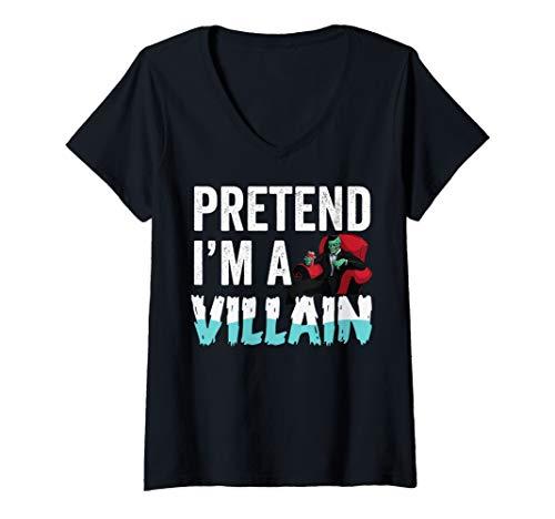 Womens Pretend I'm A Villain Halloween Men Kids Boys Easy Costume V-Neck T-Shirt]()
