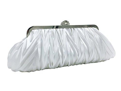 uni-love Vintage elegante embrague bolsa bolso de mano noche bolsos de raso para mujer blanco, plateado blanco