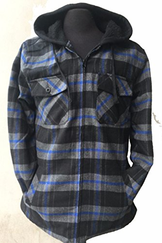 (FLJ700-S-2XL) Big & Tall Men's Full Zip Hooded Flannel & Sherpa Lined Long Sleeve Soft Fabric Warm Hoodie Jacket (S-BLACK-BLUE)