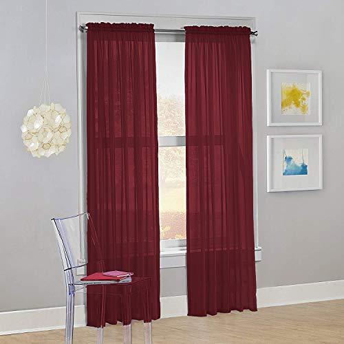 "Decotex Set of 2 Sheer Voile Transparent Window Panel Curtain Drapes (54"" W X 95"" L, Burgundy)"