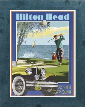 Amazon com : Hilton Head- Framed, Art-Deco Style Vintage