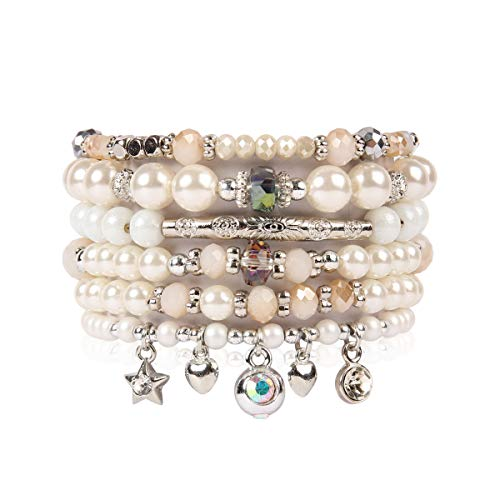 RIAH FASHION Bohemian Multi Strand Faux Pearl Bracelets - Layer Beaded Statement Stretch Lovely Crystal Charm Bangles Flower, Star, Heart (Star & Heart - Silver)